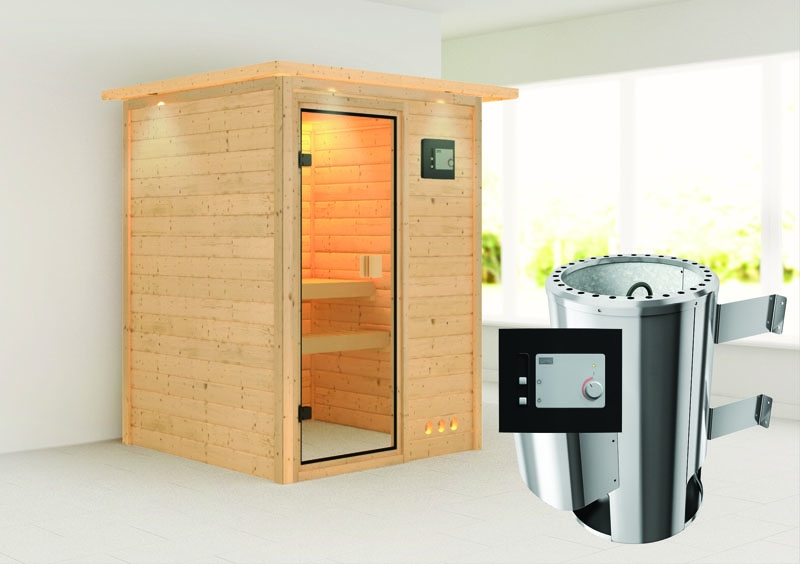 karibu massiv sauna 230 volt nadja fronteinstieg 38 mm mit dachkranz inkl ofen 3 6 kw ext. Black Bedroom Furniture Sets. Home Design Ideas