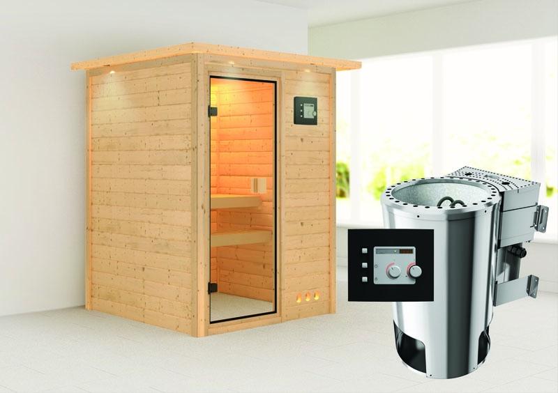 karibu massiv sauna 230 volt nadja fronteinstieg 38 mm mit dachkranz inkl ofen 3 6 kw bio. Black Bedroom Furniture Sets. Home Design Ideas