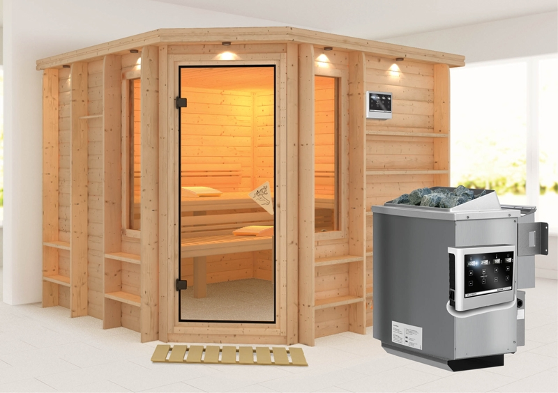karibu massiv sauna marona eckeinstieg 40 mm mit dachkranz inkl ofen 9 kw bio kombi ext. Black Bedroom Furniture Sets. Home Design Ideas