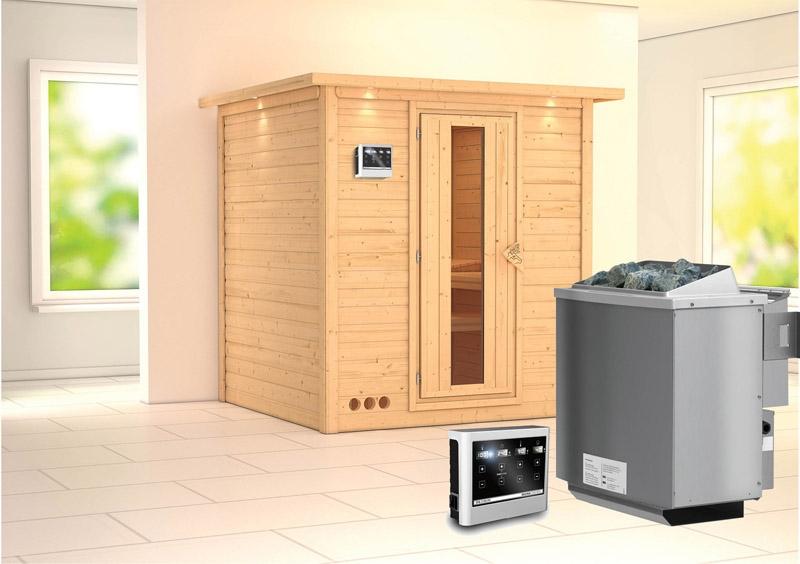 karibu massiv sauna mojave energiespart r fronteinstieg 40 mm mit dachkranz inkl ofen 9 kw. Black Bedroom Furniture Sets. Home Design Ideas