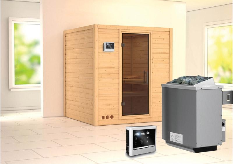 karibu massiv sauna mojave modern fronteinstieg 40 mm inkl ofen 9 kw ext steuerung. Black Bedroom Furniture Sets. Home Design Ideas