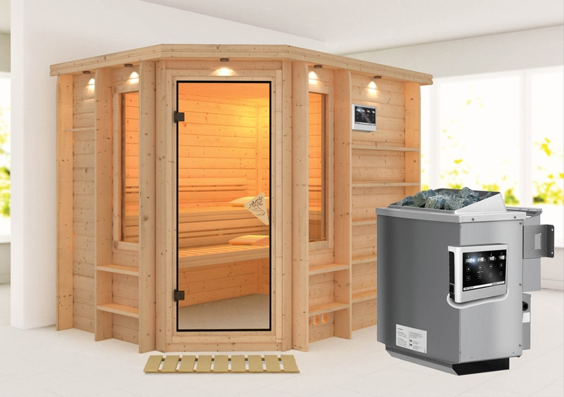 karibu massiv sauna riona eckeinstieg 40 mm mit dachkranz inkl ofen 9 kw bio kombi ext steuerung. Black Bedroom Furniture Sets. Home Design Ideas