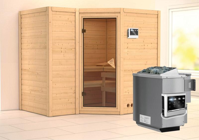 karibu massiv sauna sahib 2 classic eckeinstieg 40 mm inkl ofen 9 kw bio kombi ext steuerung. Black Bedroom Furniture Sets. Home Design Ideas