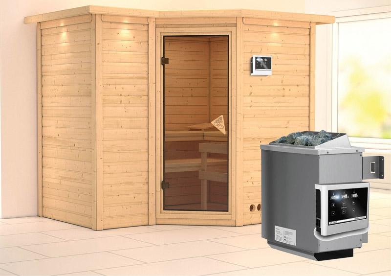 Massiv Sauna Sahib 2 Classic (Eckeinstieg) 40 mm mit Dachkranz inkl ...