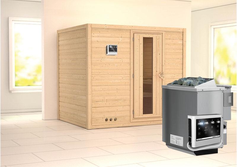 karibu massiv sauna sonara energiespart r fronteinstieg 40 mm inkl ofen 9 kw bio kombi ext. Black Bedroom Furniture Sets. Home Design Ideas