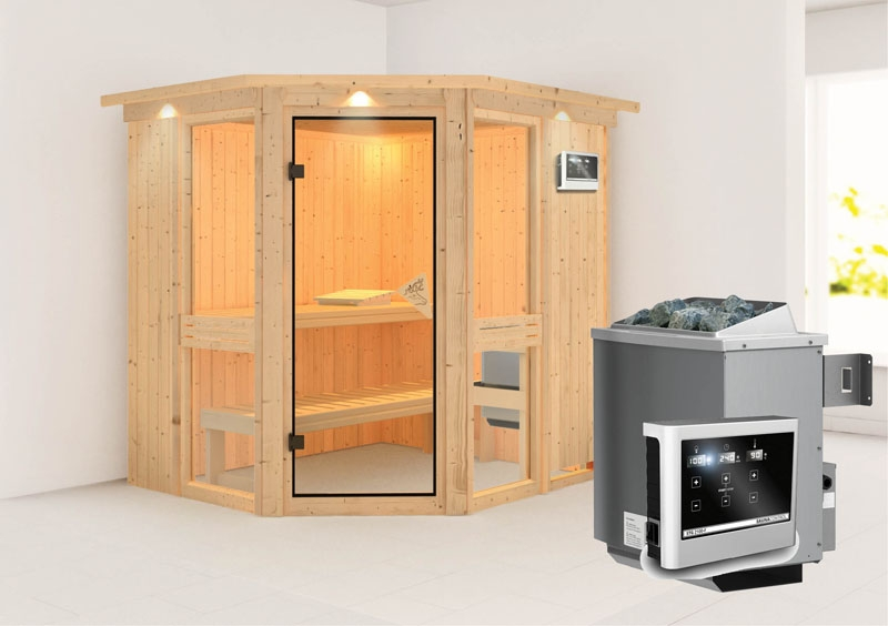karibu system sauna amelia 1 mit dachkranz eckeinstieg 68 mm inkl ofen 9 kw ext steuerung. Black Bedroom Furniture Sets. Home Design Ideas