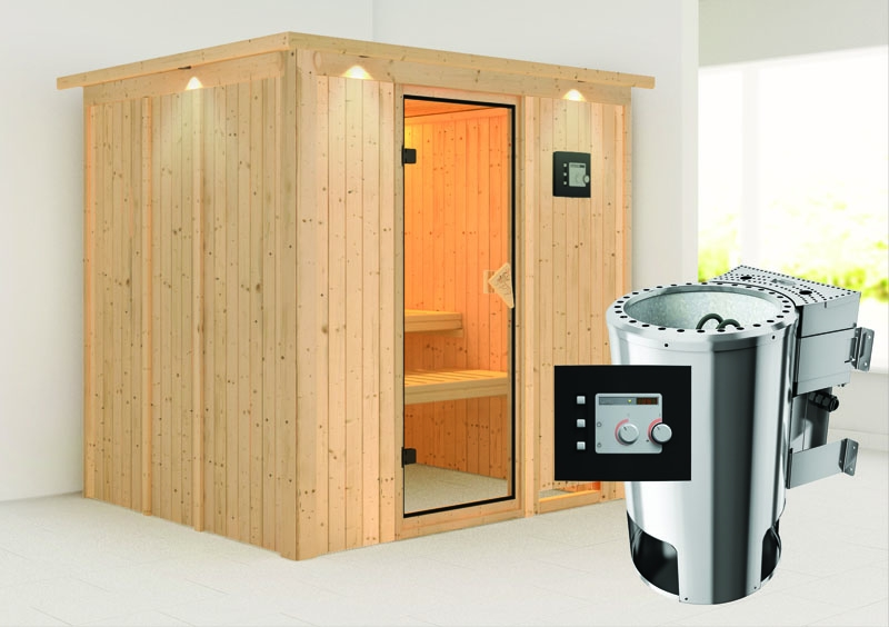 karibu system sauna 230 volt daria fronteinstieg 68 mm mit dachkranz inkl ofen 3 6 kw bio. Black Bedroom Furniture Sets. Home Design Ideas