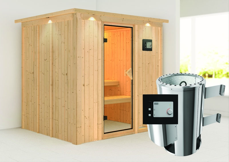 karibu system sauna 230 volt daria fronteinstieg 68 mm mit dachkranz inkl ofen 3 6 kw ext. Black Bedroom Furniture Sets. Home Design Ideas