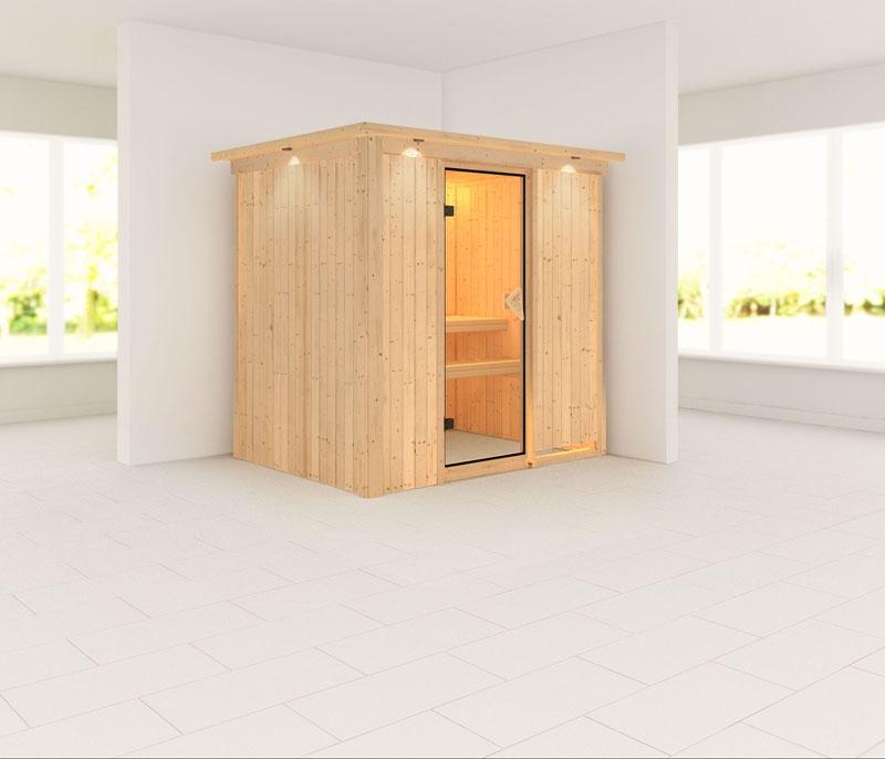 karibu system sauna 230 volt fanja fronteinstieg 68 mm mit dachkranz. Black Bedroom Furniture Sets. Home Design Ideas