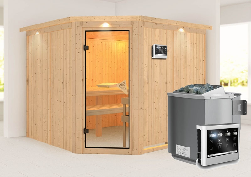 karibu system sauna farin eckeinstieg 68 mm mit dachkranz inkl ofen 9 kw bio kombi ext steuerung. Black Bedroom Furniture Sets. Home Design Ideas