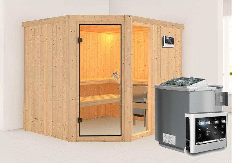 karibu system sauna fiona 3 eckeinstieg 68 mm inkl ofen 9 kw bio kombi ext steuerung. Black Bedroom Furniture Sets. Home Design Ideas