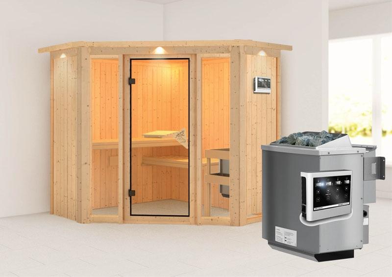 karibu system sauna flora 1 ganzglas fronteinstieg 68 mm mit dachkranz inkl ofen 9 kw bio. Black Bedroom Furniture Sets. Home Design Ideas