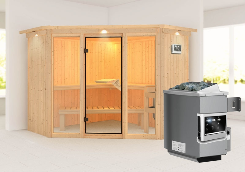 karibu system sauna flora 2 ganzglas fronteinstieg 68 mm mit dachkranz inkl ofen 9 kw ext. Black Bedroom Furniture Sets. Home Design Ideas