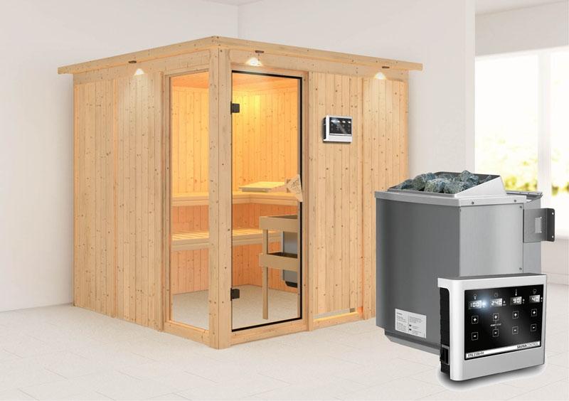 karibu system sauna helin fronteinstieg 68 mm mit dachkranz inkl ofen 9 kw bio kombi ext. Black Bedroom Furniture Sets. Home Design Ideas