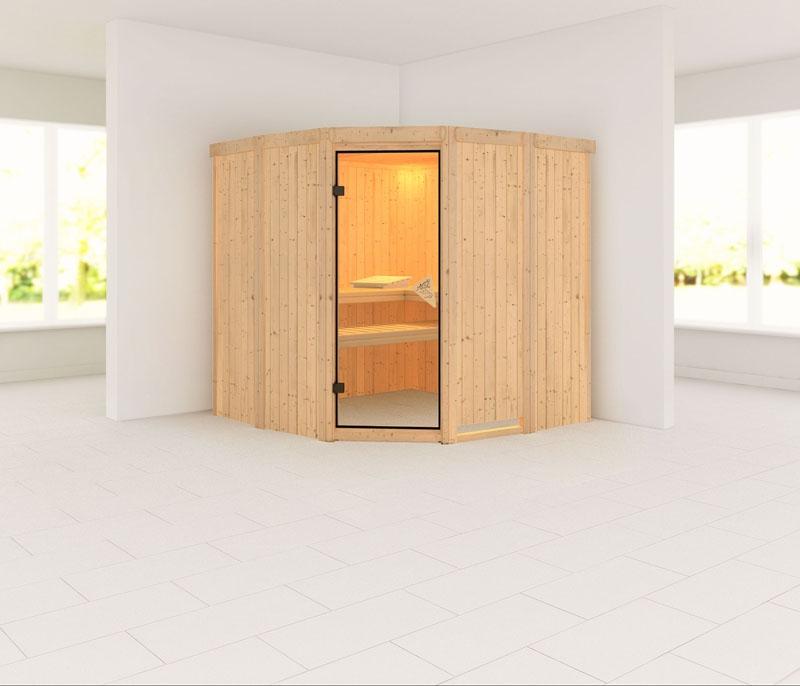 Karibu system sauna simara 1 eckeinstieg 68 mm ohne zubeh r ohne fenster - Sauna fenster ...