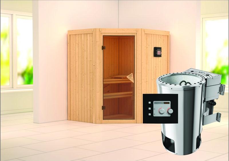 karibu system sauna 230 volt tonja eckeinstieg 68 mm inkl ofen 3 6 kw bio kombi ext steuerung. Black Bedroom Furniture Sets. Home Design Ideas