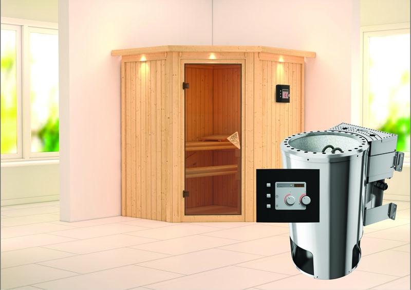 karibu system sauna 230 volt tonja eckeinstieg 68 mm mit dachkranz inkl ofen 3 6 kw bio kombi. Black Bedroom Furniture Sets. Home Design Ideas