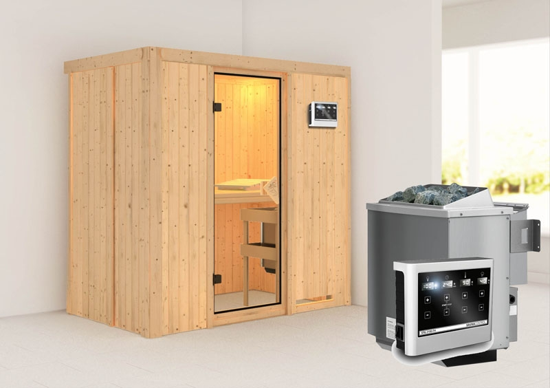 karibu system sauna variado fronteinstieg 68 mm inkl ofen 9 kw bio kombi ext steuerung. Black Bedroom Furniture Sets. Home Design Ideas