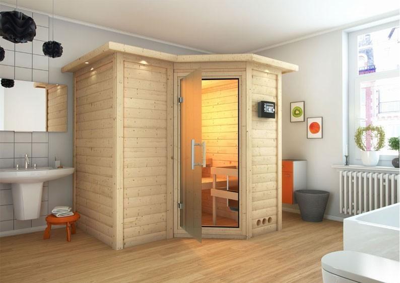 karibu massiv sauna sahib 1 classic eckeinstieg 40 mm mit dachkranz inkl ofen 9 kw bio kombi. Black Bedroom Furniture Sets. Home Design Ideas
