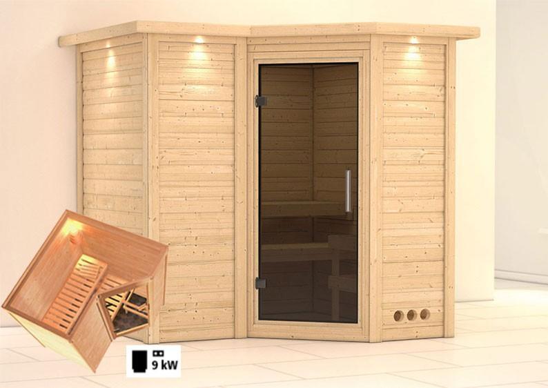 karibu massiv sauna sahib 1 modern eckeinstieg 40 mm mit dachkranz inkl ofen 9 kw ext steuerung. Black Bedroom Furniture Sets. Home Design Ideas