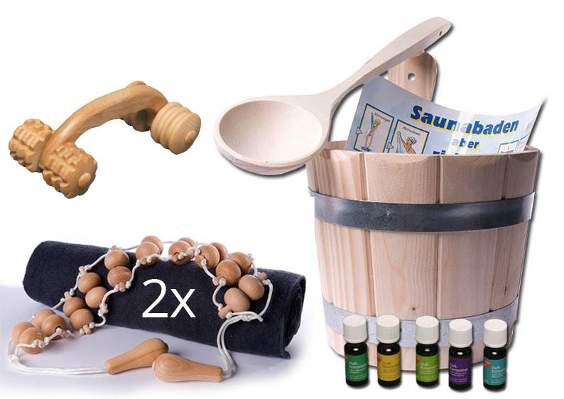 sauna starter set 7 teilig k bel kelle 3x massageroller. Black Bedroom Furniture Sets. Home Design Ideas
