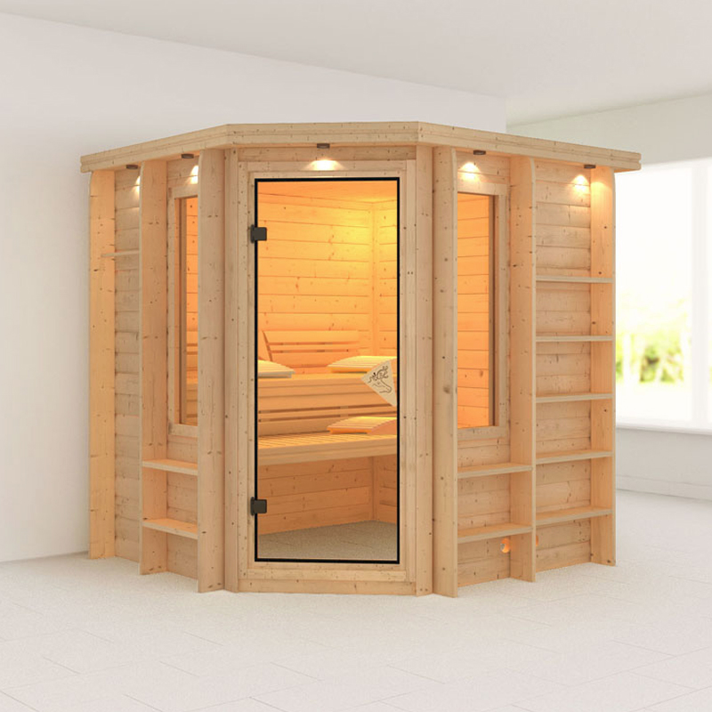 karibu massiv sauna cortona eckeinstieg 40 mm mit dachkranz ohne zubeh r. Black Bedroom Furniture Sets. Home Design Ideas