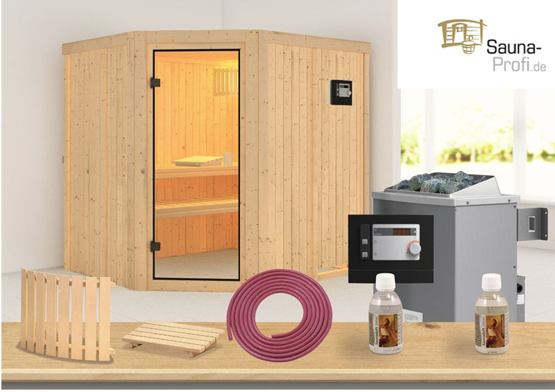 karibu systembau sauna bodo classic eckeinstieg 68 mm. Black Bedroom Furniture Sets. Home Design Ideas