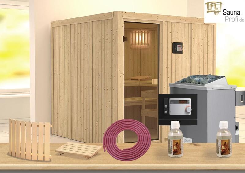 karibu systembau sauna halsa classic fronteinstieg 68 mm inkl ofen ext strg und zubeh r. Black Bedroom Furniture Sets. Home Design Ideas