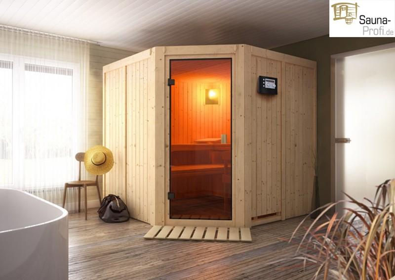 karibu systembau sauna tonnes classic eckeinstieg 68 mm inkl biokombi ofen ext strg und. Black Bedroom Furniture Sets. Home Design Ideas