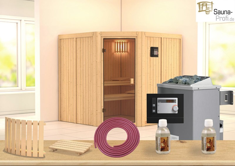 karibu systembau sauna tonnes classic eckeinstieg 68 mm. Black Bedroom Furniture Sets. Home Design Ideas