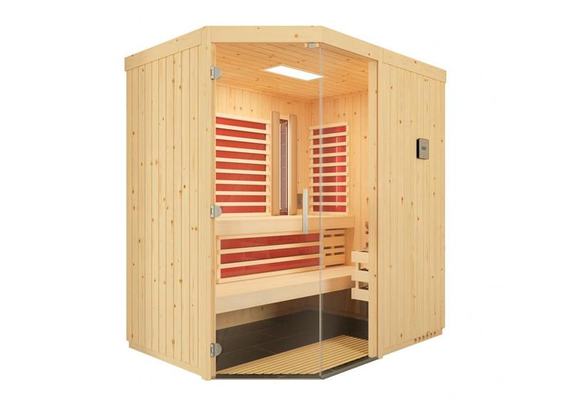 infraworld sauna auf ma optima mit sole therme fichtenholz 75 mm elementbau von l nge 142 151. Black Bedroom Furniture Sets. Home Design Ideas