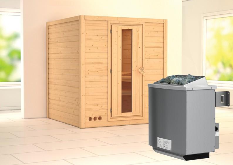 karibu massiv sauna mojave energiespart r fronteinstieg 40 mm inkl ofen 9 kw mit integr. Black Bedroom Furniture Sets. Home Design Ideas