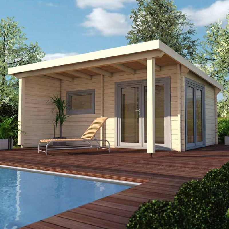 Infraworld Premium 70mm Pultdachhaus Gartensauna Poolhaus Aus