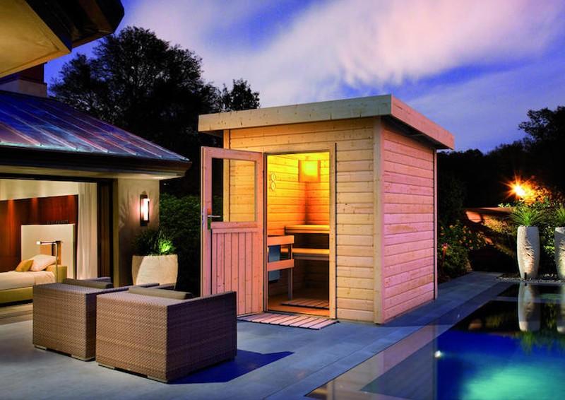 wolff finnhaus gartensauna saunahaus lenja 40 pultdach sauna haus 40 mm massivholz naturbelassen. Black Bedroom Furniture Sets. Home Design Ideas