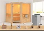 Karibu Sauna Aktionsset 3 inkl. 9 kW Saunaofen mit integr. Steuerung und  Zubehörset