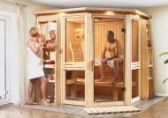 Karibu System Sauna Amelia 1 (Eckeinstieg) 68 mm inkl. 2 x 350 W VITAMY Rückenstrahler mit Multi-Steuergerät