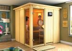 Karibu System Sauna Helin (Fronteinstieg) 68 mm mit Dachkranz inkl. Ofen 9 KW ext. Steuerung