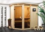 Karibu System Sauna Fiona 1 mit Dachkranz (Eckeinstieg) 68 mm inkl. Ofen 9 kW mit integr. Steuerung