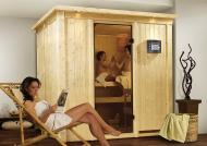 Karibu System Sauna 230 Volt Daria (Fronteinstieg) 68 mm mit Dachkranz inkl. Ofen 3,6 kW integr. Steuerung