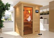 Karibu Massiv Sauna 230 Volt Nadja (Fronteinstieg) 38 mm inkl. Ofen 3,6 kW Bio-Kombi ext. Steuerung