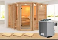Karibu Massiv Sauna Marona (Eckeinstieg) 40 mm mit Dachkranz inkl. Ofen 9 kW mit integr. Steuerung