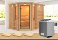Karibu Massiv Sauna Riona (Eckeinstieg) 40 mm mit Dachkranz inkl. Ofen 9 kW mit integr. Steuerung