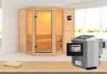 Karibu Massiv Sauna Sinai 2 (Eckeinstieg) 40 mm  inkl. Ofen 9 kW Bio-Kombi ext. Steuerung