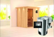 Karibu System Sauna 230 Volt Kaja (Fronteinstieg) 68 mm mit Dachkranz inkl. Ofen 3,6 kW Bio-Kombi ext. Steuerung