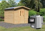 Karibu Gartensauna Bosse mit Vorraum  inkl. Ofen 9 kW Bio-Kombi ext. Steuerung