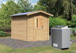 Karibu Gartensauna Lasse mit Vorraum inkl. Ofen 9 kW mit integr. Steuerung