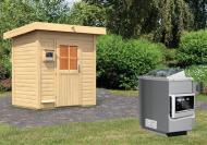 Karibu Gartensauna Pultdach Jorgen inkl. Ofen 9 kW ext. Steuerung