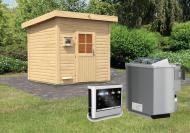 Karibu Gartensauna Pultdach Kroge  inkl. Ofen 9 kW Bio-Kombi ext. Steuerung