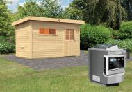 Karibu Gartensauna Pultdach Skrollan 1 mit Vorraum  inkl. Ofen 9 kW Bio-Kombi ext. Steuerung