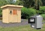 Karibu Gartensauna Pultdach Jorgen inkl. Ofen 9 kW Bio-Kombi ext. Steuerung